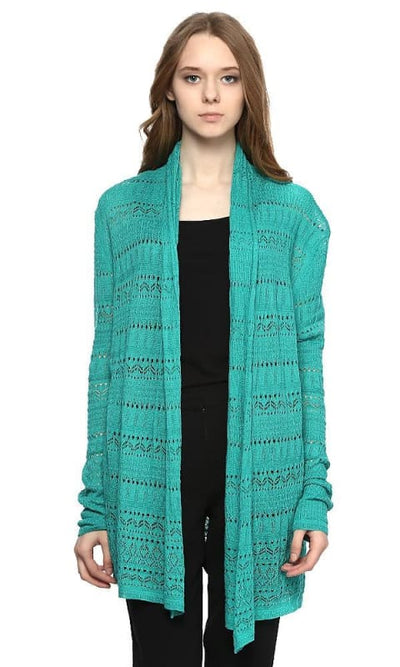 Knitted Cardigan - Green - women vests & cardigans