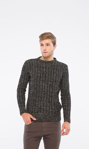 Knitted Pullover - Black - male pullover