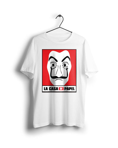 La Casa De Papel Mask - Digital Graphics Basic T-shirt White - Ravin