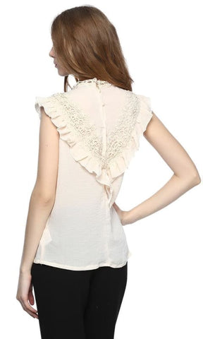 Lace Top - Off White - women tops