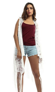 Lace Women Cardigan - White - women vests & cardigans