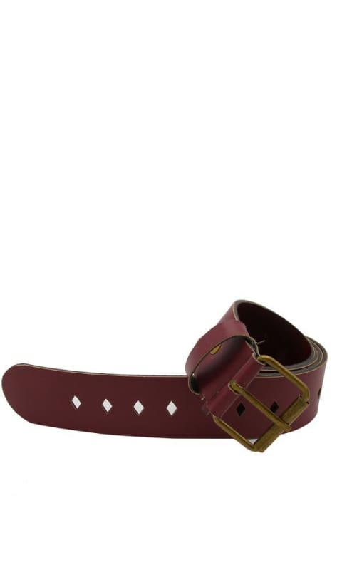Leather Casual Belt - Burgundy - women belt