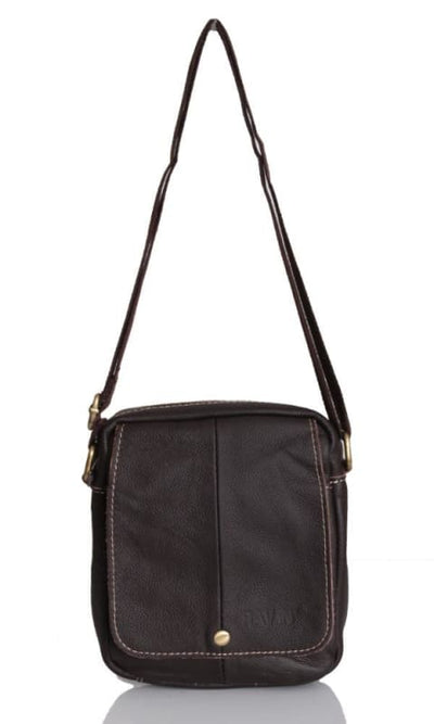 Leather Cross Body Bag - Brown - male bags