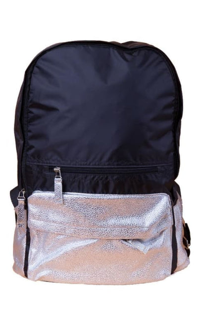 Leather Metalic BackPack - Navy Blue & Silver - women bags
