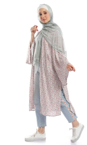 Loose Full Sleeves Floral Cardigan - Multicolour - hijab style