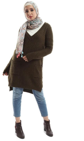 Lose Neck Tunic Olive Pullover With Two Pockets - hijab style