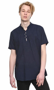 Mao Collar Shirt - Navy Blue - male shirts