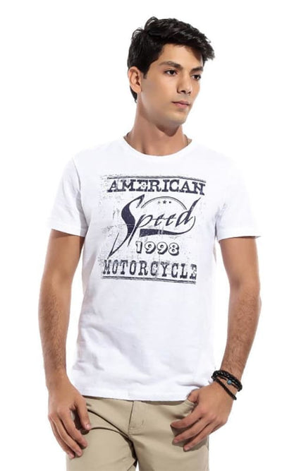 Men Round Neck T-Shirt - White - male t-shirts