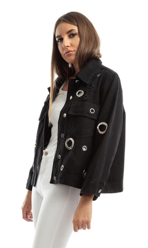 Metal Ring Ripped Holes Jacket Black - women coats & jackets