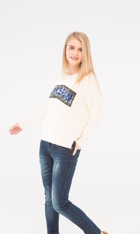 Mohair Sequins Pullover - Off White - women pullover