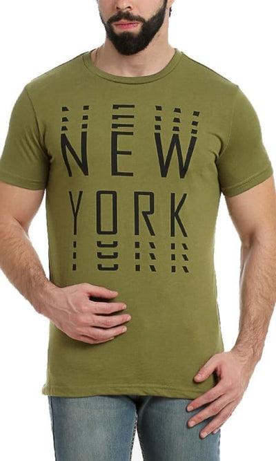 New York-Printed T-Shirt - Dark Green - male t-shirts