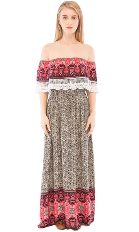 Off Shoulder Maxi Dress - Black & Beige - women dresses