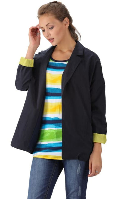 Open Neckline Blazer - Navy Blue & Lime Green - women coats & jackets