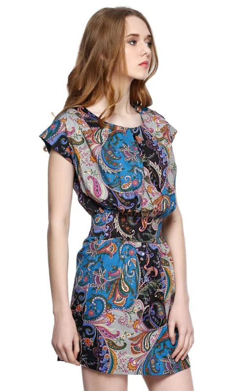 Paisley Short Dress - Multicolour - women dresses