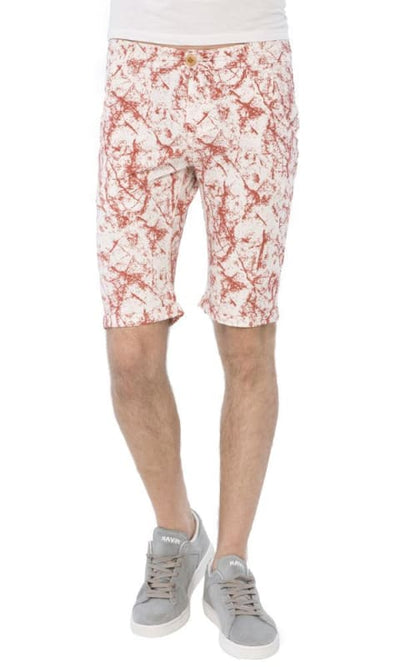 Patterned Buttoned Short - Red & White - male shorts