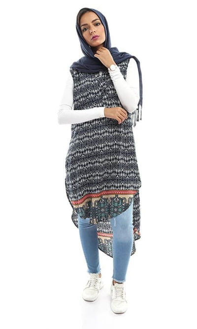 Patterned Buttoned Tunic Shirt - Navy Blue - hijab style