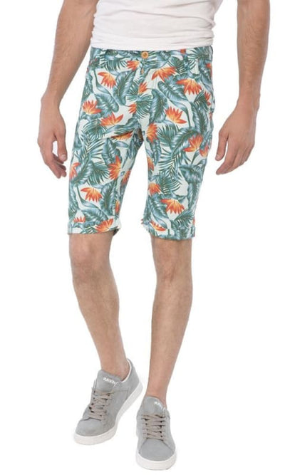 Patterned Casual Short - Mint Green - male shorts
