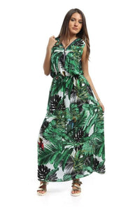 Patterned Casual Sleeveless Midi Dress - Green & White - women dresses