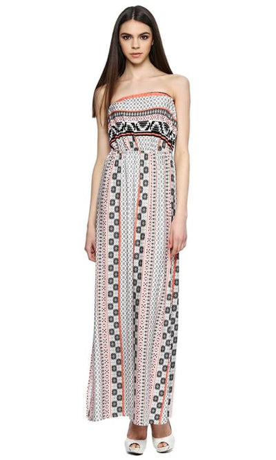 Patterned Off Shoulder Maxi Dress - Off White - women dresses