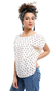 Patterned Short Sleeves Slip On Round Collar Blouse - Off-White - women shirts & blouses