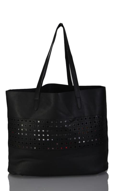 Perforated Hand Bag - Black - women bags