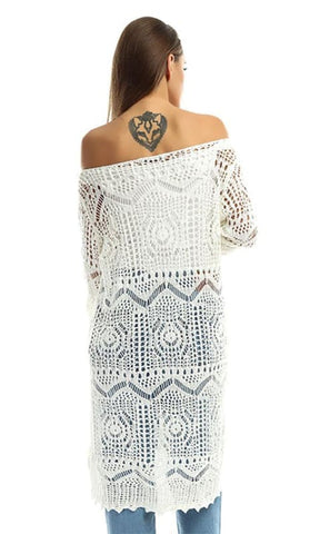 Perforated Slip On Solid Tunic Top - Off White - women dresses