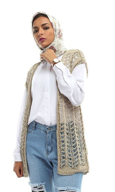 Perforated Slip On Unique Cardigan - Beige - hijab style
