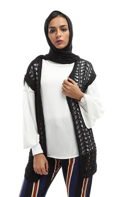 Perforated Women Cardigan - Black - hijab style