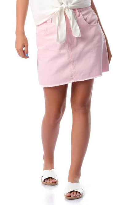 Pink Casual Short Jeans Skirt - women skirts