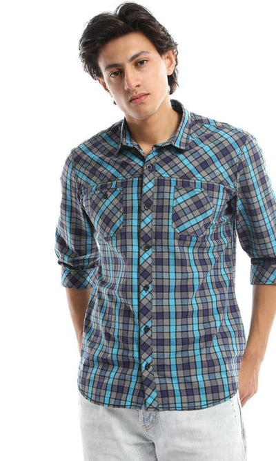 Plaided 3/4 Sleeves Turned Down Collar Turquoise Shirt - male shirts