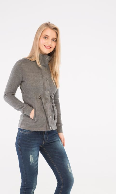 Plain Casual Jacket - Dark Heather Grey - women hoddies & sweatshirts