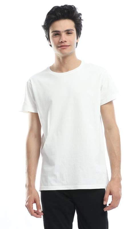 Plain Cotton Off White Tee - male t-shirts