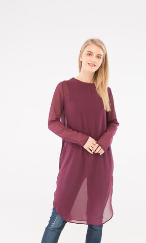 Plain Tunic Top - Eggplant - women shirts & blouses
