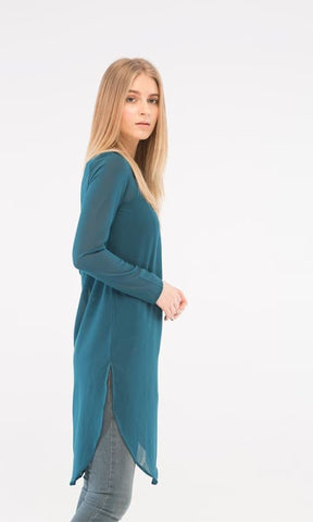 Plain Tunic Top - Teal Green - women shirts & blouses