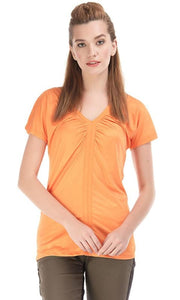 Polyester Plain T-Shirt - Orange - women t-shirts