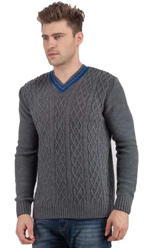 Printed Casual Pullover Grey - male pullover