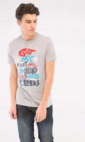 Printed Casual T-Shirt - Heather Light Grey - male t-shirts