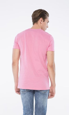 Printed Half Sleeves T-Shirt - Pink - male t-shirts