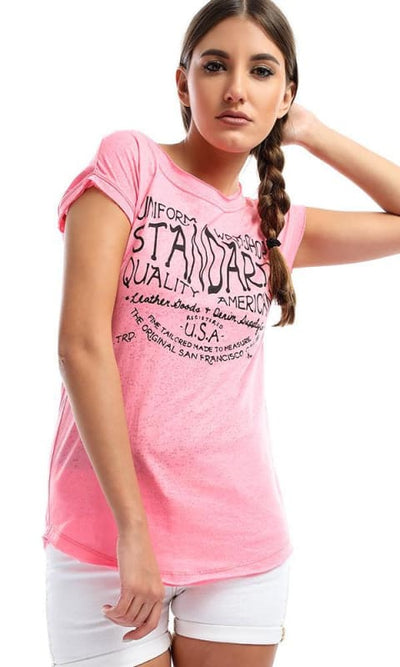 Printed Heather Hot Pink T-shirt - women t-shirts