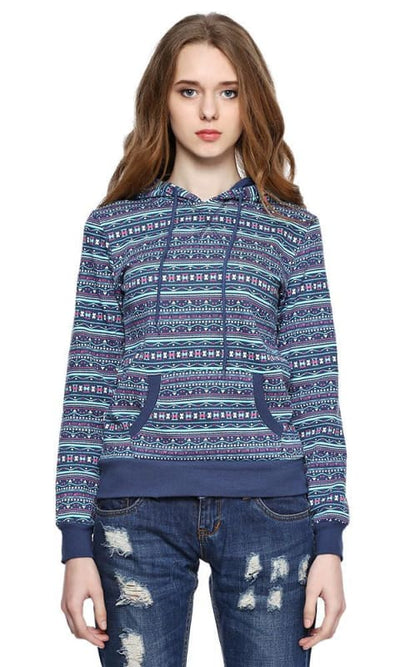 Printed Hooded Sweatshirt - Navy Blue - women hoddies & sweatshirts