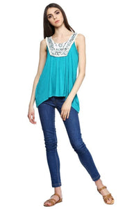 Printed Lace Panel Top - Turquoise - women tops