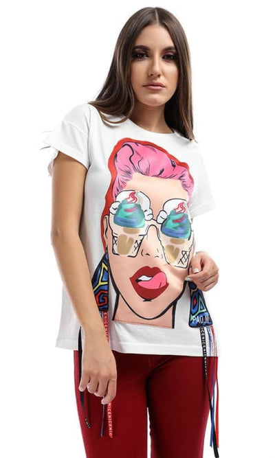 Printed Lady Off-White T-shirt - women t-shirts
