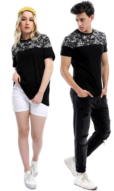 Random Printed Pattern Half Sleeves T-shirt - Black - male t-shirts