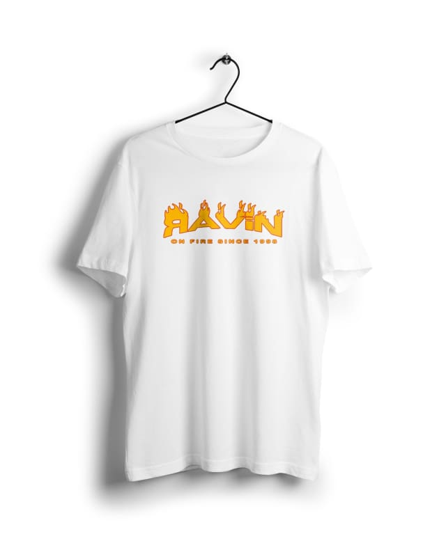 Ravin on Fire -Digital Graphics Basic T-shirt White - POD
