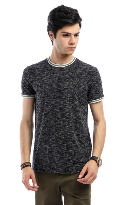 Ribbed Round Neck Comfy Short Sleeves T-shirt - Heather Black - male t-shirts