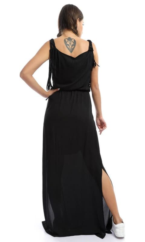 Round Neck With Fringed Black Maxi Dress - women dresses