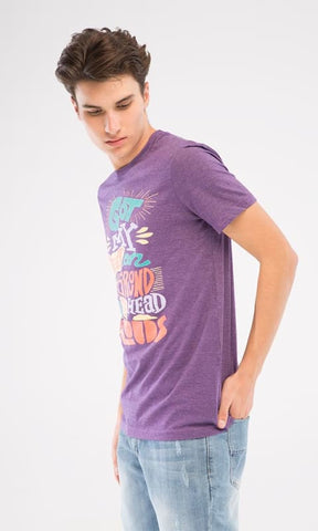 Rounded Neck Printed T-Shirt - Heather Purple - male t-shirts