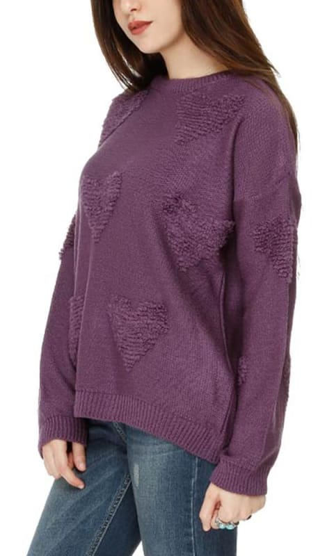 Rounded Winter Basic Unique Pullover - Purple - women pullover