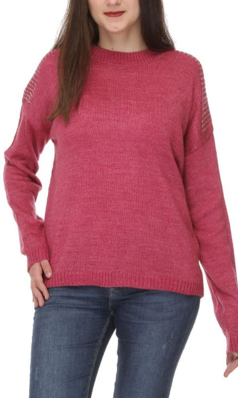Rounded Winter Pullover - Fuschia - women pullover