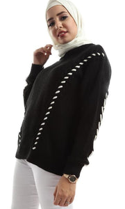Ruched Hem Bi-Tone Long Sleeves Pullover - Black - hijab style